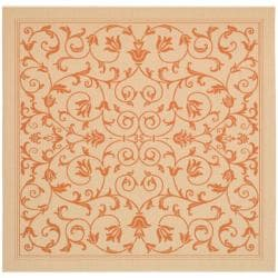 "Safavieh Resorts Scrollwork Natural/ Terracotta Indoor/ Outdoor Rug - 6'7"" x 6'7"" square - Thumbnail 0"