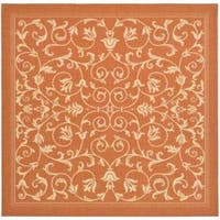 "Safavieh Resorts Scrollwork Terracotta/ Natural Indoor/ Outdoor Rug - 6'7"" x 6'7"" square"