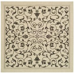 Safavieh Resorts Scrollwork Sand/ Black Indoor/ Outdoor Rug (6' 7 Square)