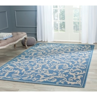 Safavieh Indoor/ Outdoor Mayaguana Blue/ Natural Rug (9' x 12')