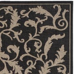 Safavieh Mayaguana Black/ Sand Indoor/ Outdoor Rug (6' 7 Square) - Thumbnail 1