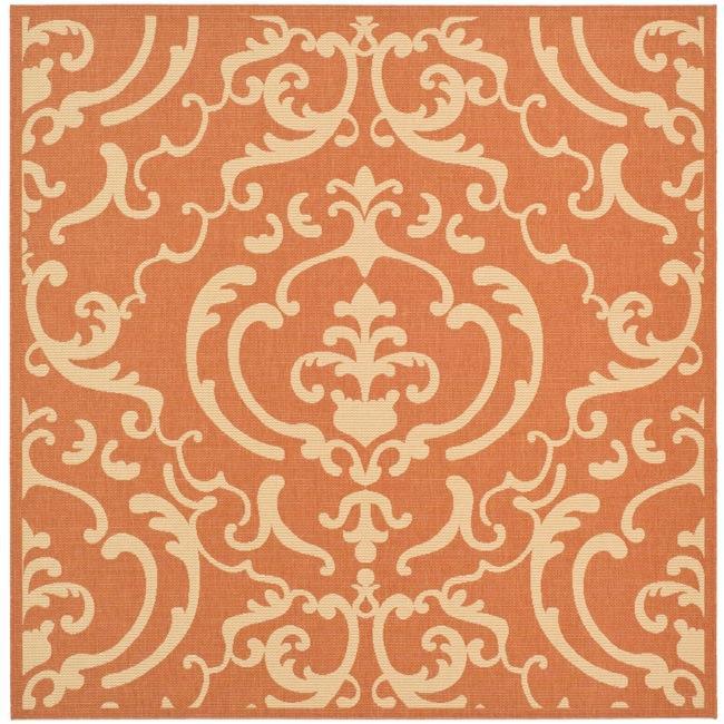 Safavieh Indoor/ Outdoor Bimini Terracotta/ Natural Rug (6' 7 Square)
