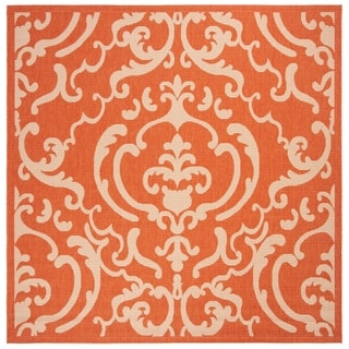 Safavieh Bimini Damask Terracotta/ Natural Indoor/ Outdoor Rug (6' 7 Square)