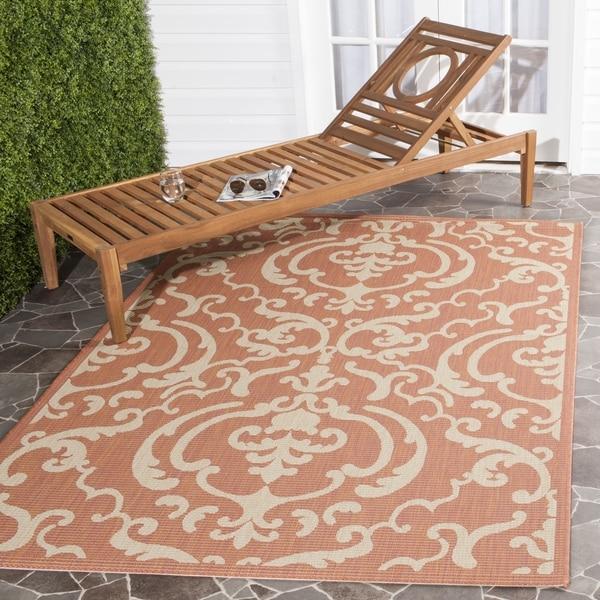 Safavieh Bimini Damask Terracotta/ Natural Indoor/ Outdoor Rug (6' 7 Square)