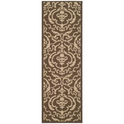 Safavieh Bimini Damask Chocolate/ Natural Indoor/ Outdoor Runner (2'4 x 9'11)