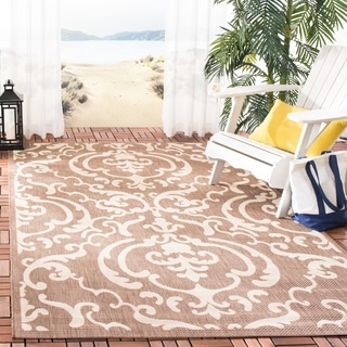 Safavieh Bimini Damask Chocolate/ Natural Indoor/ Outdoor Rug (9' x 12')