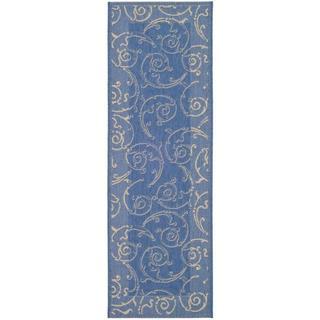 Safavieh Oasis Scrollwork Blue/ Natural Indoor/ Outdoor Runner (2'4 x 9'11)