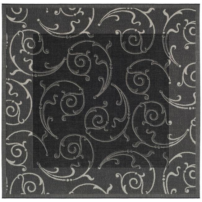 Safavieh Oasis Scrollwork Black/ Sand Indoor/ Outdoor Rug (6' 7 Square)