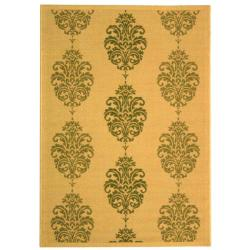 Safavieh St. Martin Damask Natural/ Olive Green Indoor/ Outdoor Rug (8' 11 x 12' )