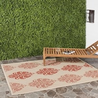 "Safavieh St. Martin Damask Natural/ Red Indoor/ Outdoor Rug - 6'7"" x 6'7"" square"