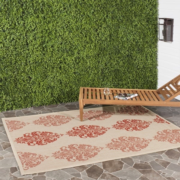 Safavieh St. Martin Damask Natural/ Red Indoor/ Outdoor Rug (6' 7 Square)