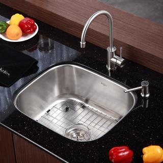KRAUS 20 Inch Undermount Single Bowl Stainless Steel Kitchen Sink with Kitchen Bar Faucet and Soap Dispenser in Stainless Steel