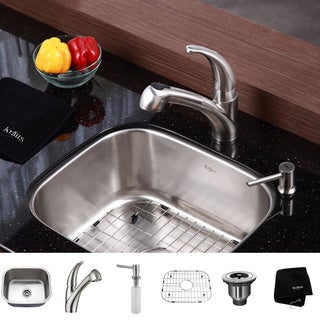 KRAUS 20 Inch Undermount Single Bowl Stainless Steel Kitchen Sink with Pull Out Kitchen Faucet and Soap Dispenser