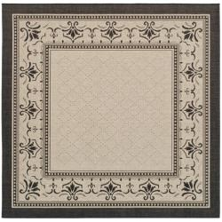 Safavieh Royal Sand/ Black Indoor/ Outdoor Rug (6' 7 Square)