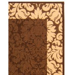 Safavieh Kaii Damask Chocolate/ Natural Indoor/ Outdoor Rug (9' x 12') - Thumbnail 1