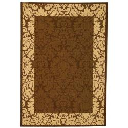 Safavieh Kaii Damask Chocolate/ Natural Indoor/ Outdoor Rug - 9' x 12' - Thumbnail 0