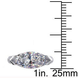 Danhov 14k Gold Marquise Diamond and CZ Center 2/5ct TDW Ring (G, VS2) - Thumbnail 2