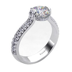 Danhov 14k Gold 2/5ct TDW Diamond and CZ Center Engagement Ring (G, VS2)