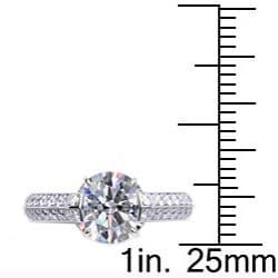 Danhov 14k Gold 2/5ct TDW Diamond and CZ Center Engagement Ring (G, VS2) - Thumbnail 2