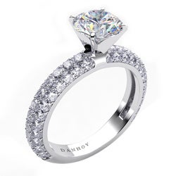 Danhov 18k Gold 1ct TDW Diamond and CZ Center Engagement Ring (G, VS2)