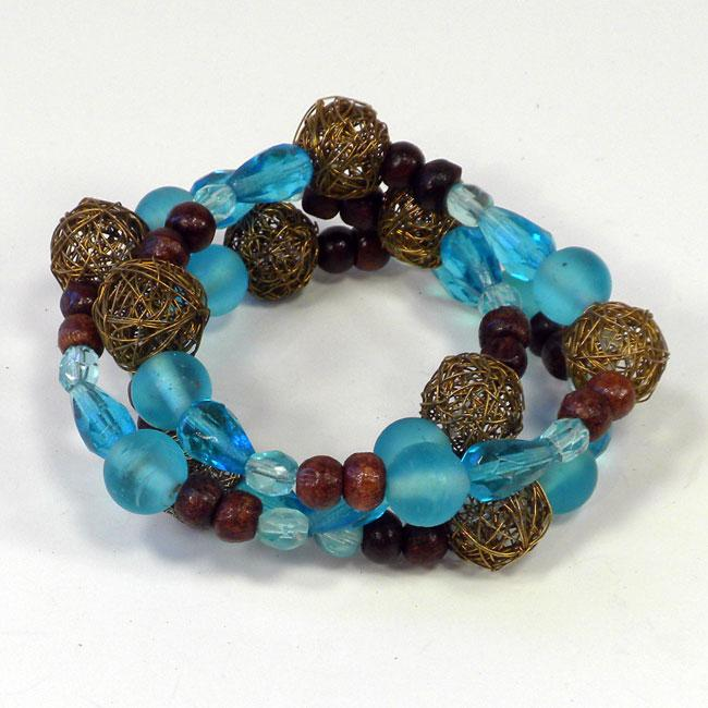 Wood and Wire Blue Beaded Bracelets (India) (Set of 3)