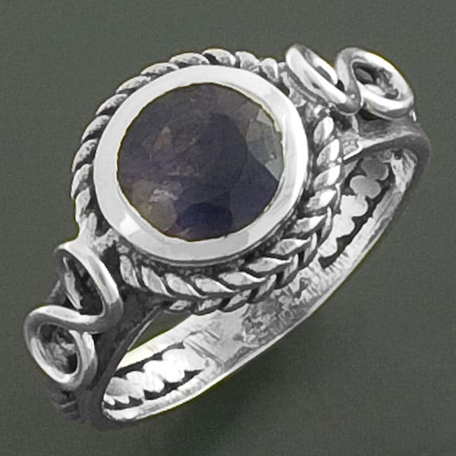 Sterling Silver Braided Iolite Cocktail Ring (India)