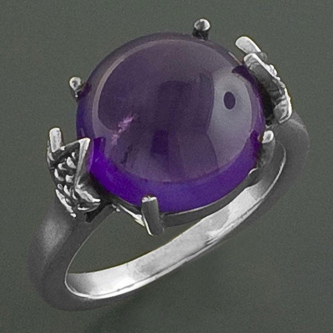Sterling Silver Amethyst Cabochon Cocktail Ring (India)