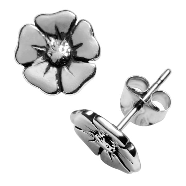 Journee Collection Sterling Silver Flower Stud Earrings