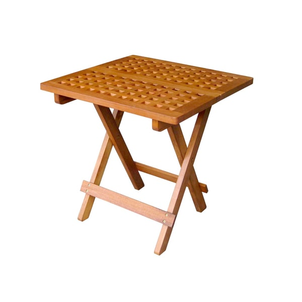 "International Caravan Royal Tahiti Yellow Balau Hardwood 20"" Square Checkerboard Folding Side Table"