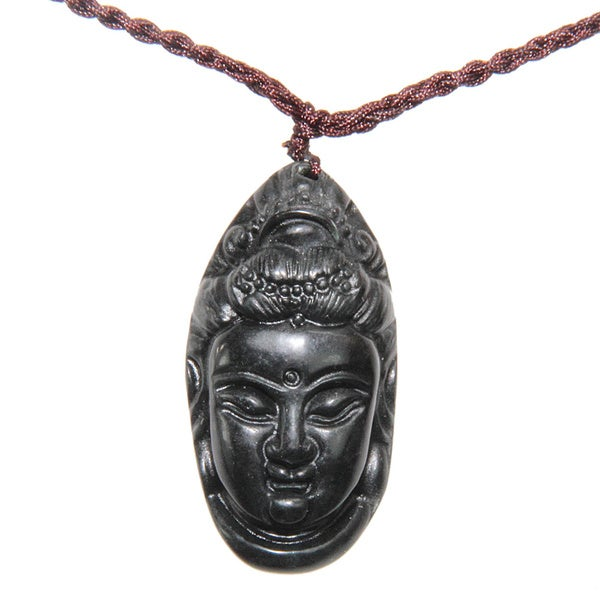 Jade Buddha Head pendant with Necklace (China)