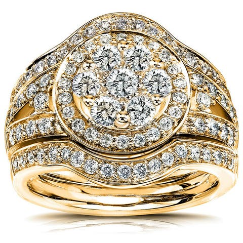 Annello by Kobelli 14k Gold 1 1/5ct TDW Low Setting Diamond Halo 3-Piece Round Cluster Statement Bridal Rings Set