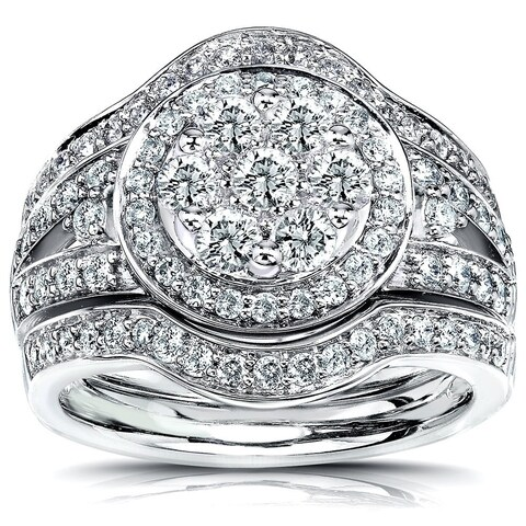 Annello by Kobelli 14k Gold 1 1/5ct TDW Diamond Halo 3-Piece Bridal Rings Set (G-H, I1-I2