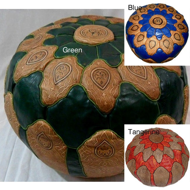 Handmade Leather Mosaic Ottoman Pouf (Morocco)