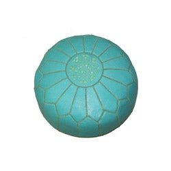 Handmade Leather Contemporary Round Ottoman Pouf (Morocco) - Thumbnail 1