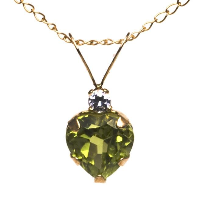 10k Yellow Gold Peridot and Cubic Zirconia Heart Necklace
