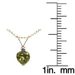 10k Yellow Gold Peridot and Cubic Zirconia Heart Necklace - Thumbnail 2