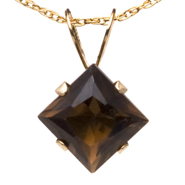 10k Yellow Gold Square-cut Smokey Quartz Necklace