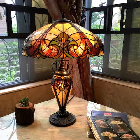 Tiffany Style Victorian Design Double Lit 2+1-light Table Lamp
