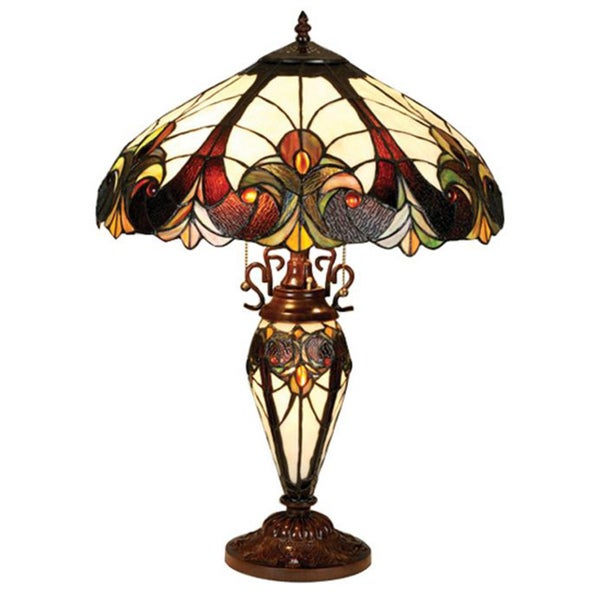 Tiffany Style Victorian Lighted Base Table Lamp   Free Shipping Today    Overstock.com   12935667
