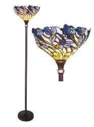 Shop Tiffany Style Iris Bronze Torchiere Lamp On Sale