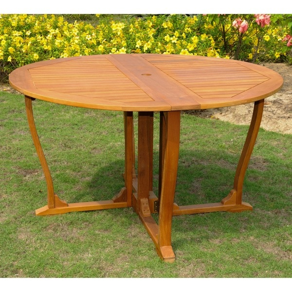 International Caravan Royal Tahiti Yellow Balau Hardwood 51.5 Inch Outdoor  Round Gateleg Table
