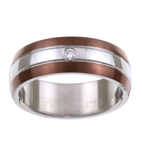 Stainless Steel and Ion-plated Brown Men's Diamond Accent Band