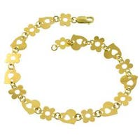 Fremada 14k Yellow Gold Heart and Flower Link Anklet (10 mm)