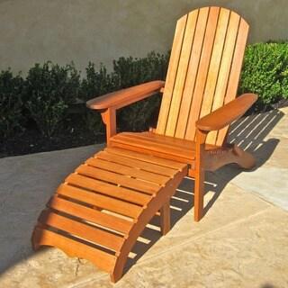 International Caravan Royal Tahiti Yellow Balau Outdoor Large Adirondack Chair with Footrest
