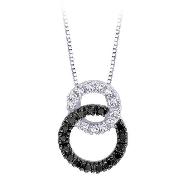 10k White Gold 1/5ct TDW Black and White Diamond Necklace (H, I2-I3)