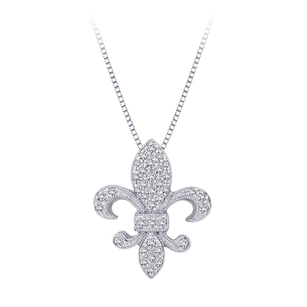 14k White Gold 1/6ct TDW Fleur-de-lis Diamond Necklace (G-H, I2-I3)