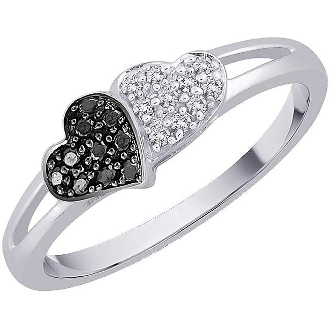 10k White Gold 1/8ct TDW Black and White Diamond Heart Ring (G-H, I2-I3) (Size 6.75)