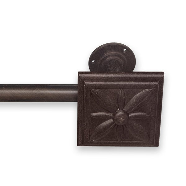 Adjustable Curtain Rod Set with Floral Finial