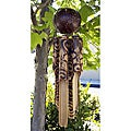 Handmade Bamboo Burnt Hibyscus Wind Chime (Indonesia)