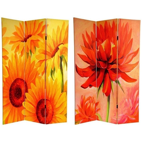 Handmade Canvas Double-sided 6-foot Poppies and Sunflowers Room Divider (China)